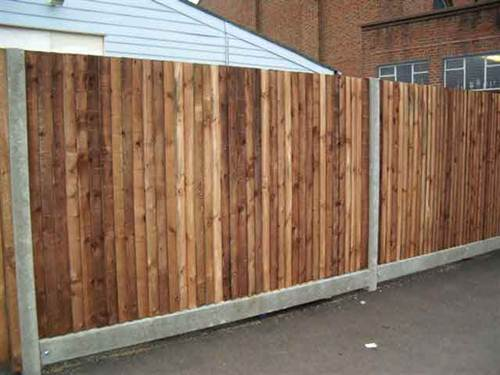 Wood Garden Fence with Concrete Fence Posts